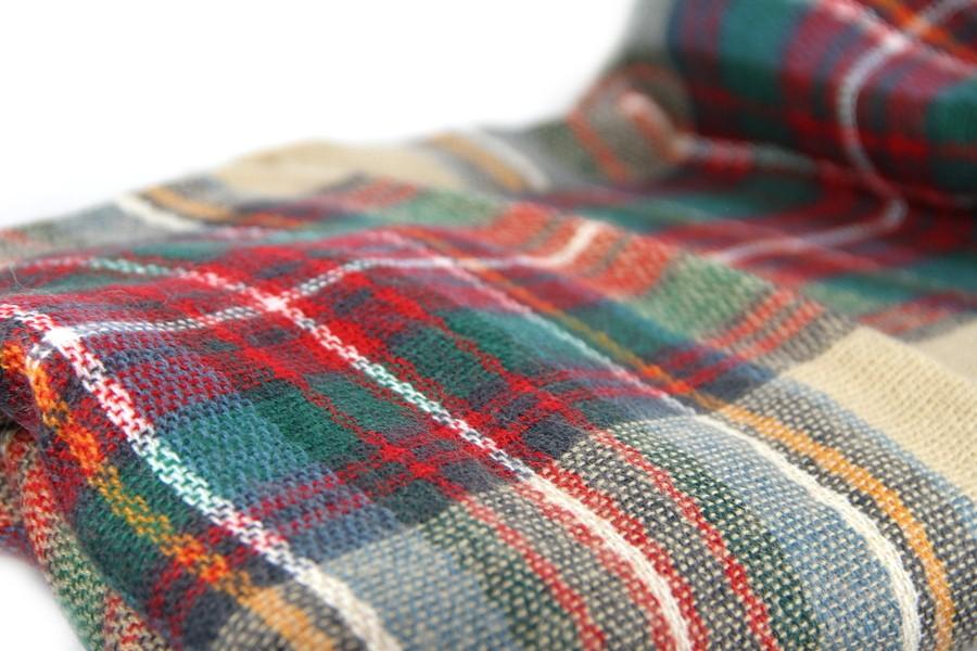 ecc5c1502273 Écharpe en laine à carreaux beiges ...
