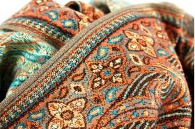 Grande écharpe bleu et orange pour homme