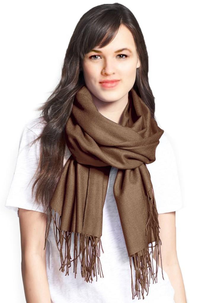 foulard pashmina marron