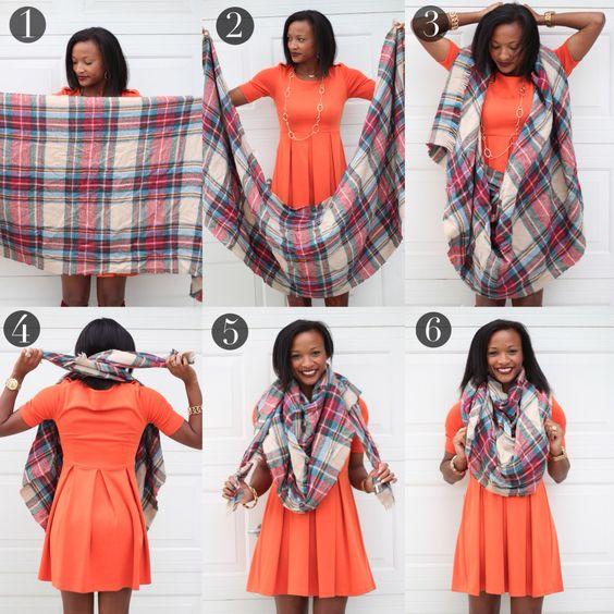 Comment plier porter mettre et nouer un foulard triangle triangulaire - Nouer une echarpe ...