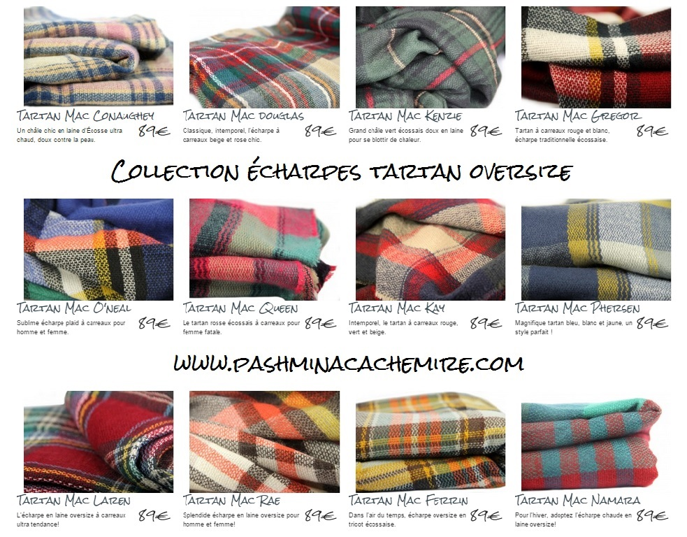 collection echarpe tartan oversize laine