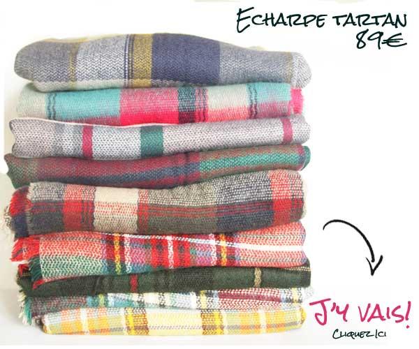 Collection de grosse écharpe femme et homme en laine à carreaux.