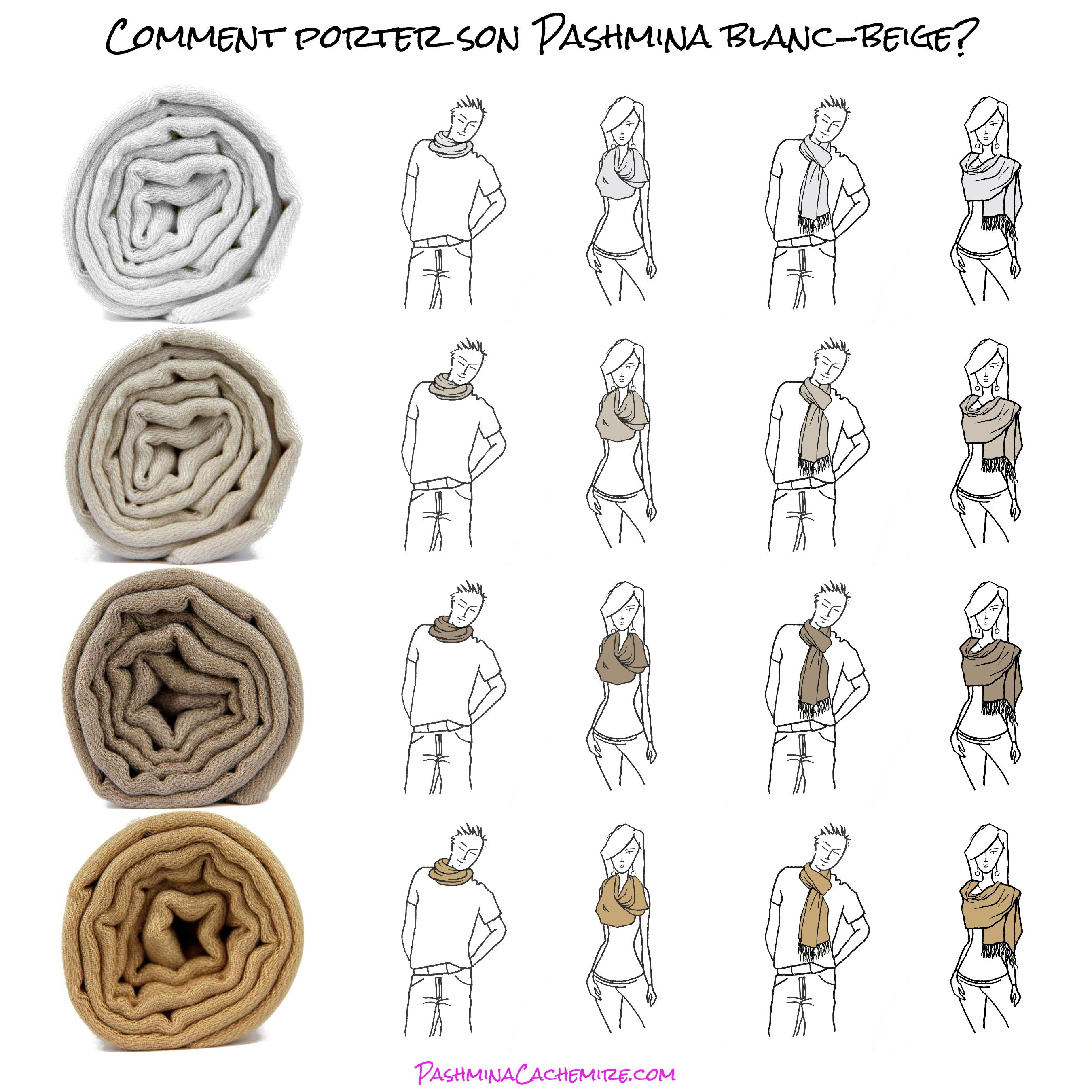 Les différentes facon de porter un pashmina Beige